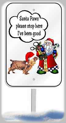 Sussex Spaniel Christmas yard sign metal 8x12 plaque Santa Paws