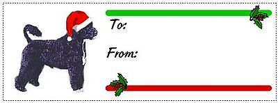 Portuguese Water Dog Christmas gift tags WATERPROOF 120 pieces