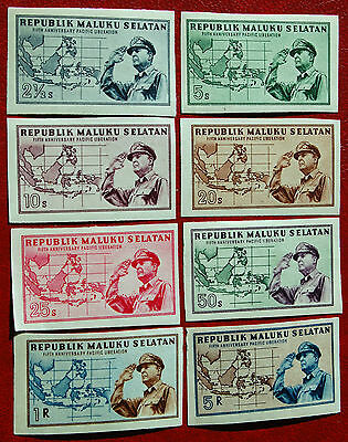 1951 Pacific Liberation Sets Sth Moluccas Maluku Selatan Mint Hinged - 8 Stamps