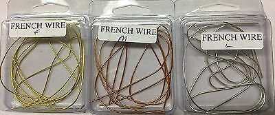 48 Inches of French Wire/French Boullion - THREE COLORS, THREE SIZES