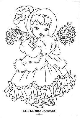 Hand Embroidery Pattern 12 Children of the Month for Quilt from 1960 Workbasket