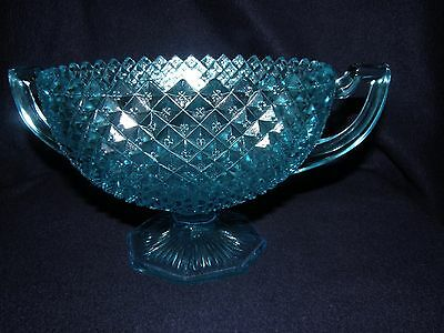 """Turquoise English Hobnail Depression Glass 2-Handled Hexagonal Footed 8"""" Bowl"""