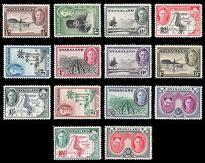 Nyasaland KGVI 1945 set of 14 very fine MNH, 9d LH SG 173/187 CV £85