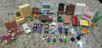Playmobil Victorian Mansion 5300 Furniture & Figure LOT 13people~45 Pieces~