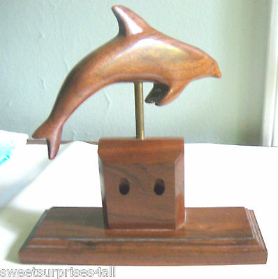 vintage wood dolphin wooden desk office pen holder swivels