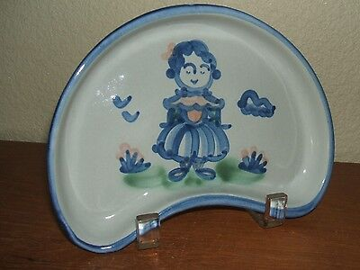 Ma Hadley Pottery Country Scene Blue Wife Crescent Side Salad Dish Plate