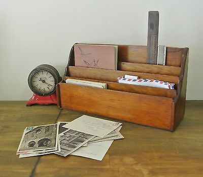 Vintage Wooden Desk / Office Organiser Pen & Paper Container Caddy