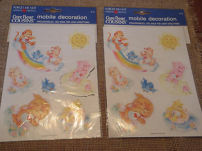 Two VTG American Greetings Care Bear Cousins Paper Mobile Decoration Bears