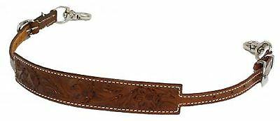 Western MEDIUM Floral Tooled Leather WITHER STRAP For Breast Collar Horse Tack