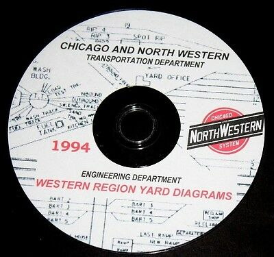 Chicago &  North Western Railroad Western Region Yard Track Chart Pages on DVD