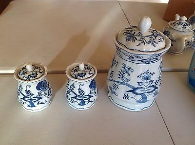 Vintage Blue Onion 3 Canisters 1 Larger And 2 Small RIBBON MARK
