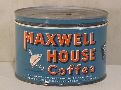 Vintage 1 LB Maxwell House Coffee Tin Can Key Top VTG 1950s 1960s Drip Grind