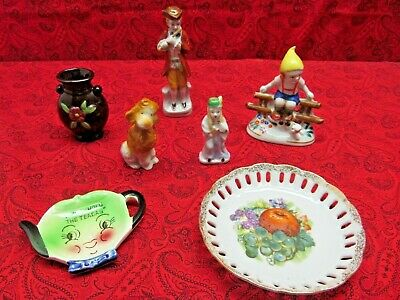 Mixed Lot Of 7 Vintage Porcelain Figurines & Plate Made In Japan
