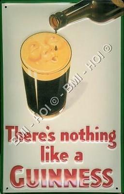 "Smiling Pint - There's nothing like a Guinness on metal sign 12"" x 8"" inches"