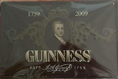 "Arthur Guinness Portrait on dark brown Metal Sign - 12"" x 8"" inches"