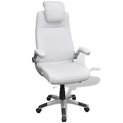 White Executive PU Leather Office Chair Computer Swivel Seat Adjustable Armchair