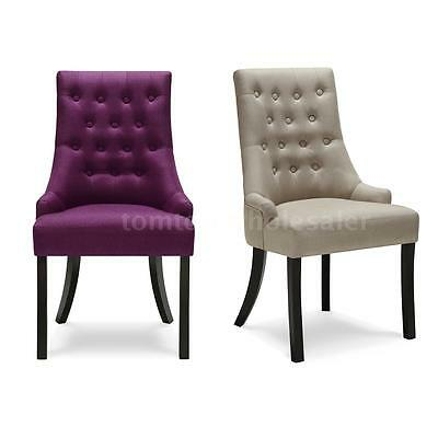 Premium Quality Linen Fabric Accent Dining Chairs Tufted Scoop Button Back J2N0