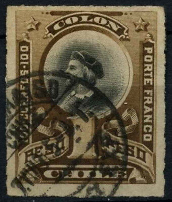 Chile 1878-99 SG#66, 1p Black & Brown, Christopher Columbus Used #D37488
