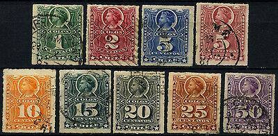 Chile 1878-99 Christopher Columbus x 9 Used Stamps #D37485