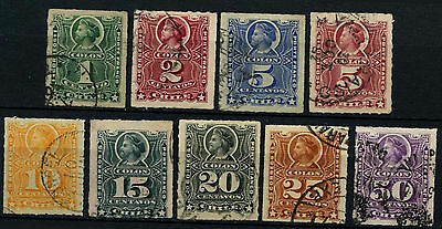 Chile 1878-99 Christopher Columbus x 9 Used Stamps #D37486