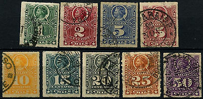 Chile 1878-99 Christopher Columbus x 9 Used Stamps #D37480