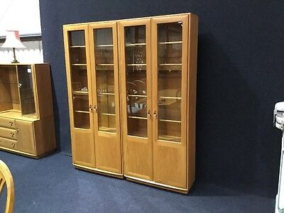 Ercol Windsor Pair Of Tall Display Cabinets Very Rare Model Light Blonde Colour