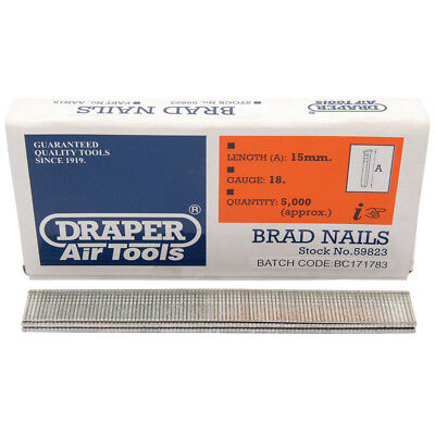 5000 Draper 15mm Brad Nails for the 15636 57563 83659 Staplers/Nailers