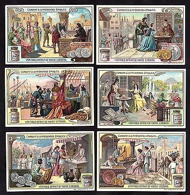 Money Of Different Times Card Set Liebig 1908 Coins Banknote Roman Greek Gold
