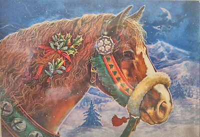 Xmas Cards CHESTNUT HORSE w/Holly Holiday Cards 12 per box