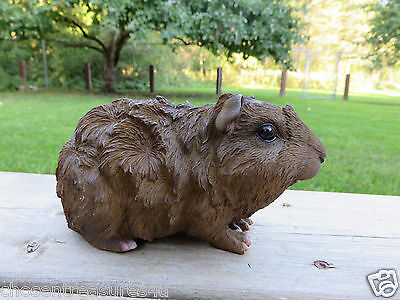 GUINEA PIG FIGURINE 6.5 IN.animal resin box fake straw PET brown little rodent
