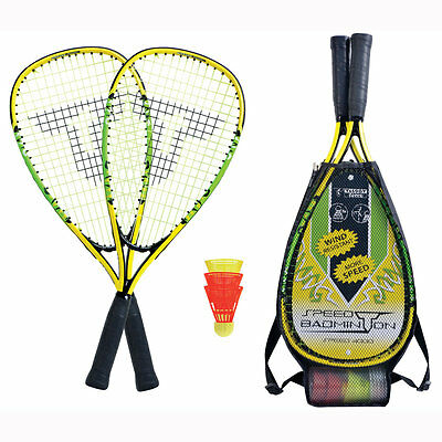 2er SET TALBOT TORRO SPEED BADMINTON SPEED 400 Schläger + 3 Bälle +Tasche 490104