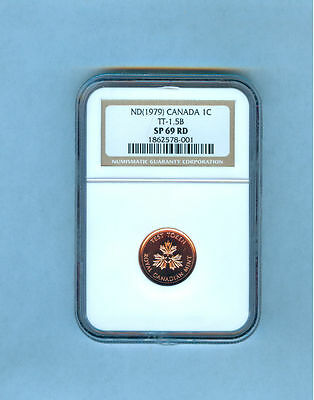 1979 Canada Small Cent Test Token Tt-1.5B Ngc Sp-69 Red