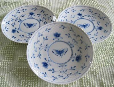 3 Bing and Grondahl Butterfly Embossed Scale Bordered Cream Soup Liners