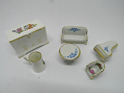 Vintage Miniature Dolls House Furniture AYNSLEY CHEST. LIMOGES CHAIR Piano sofa