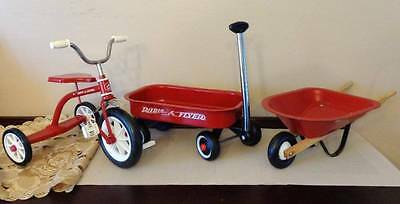 RED Toy RADIO - FLYER Bicycle Wheel Barrel & Wagon  Large Doll Props or Play