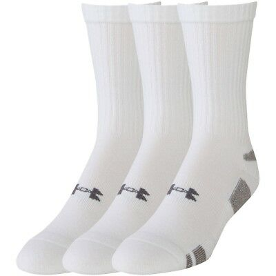 Under Armour Heatgear Crew Socks 3 Pack (White Large Size 9-12.5)