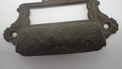 Antique Vintage Cast Iron File Drawer Pull w/ Label Tab Slot