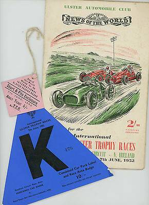 1952 Dundrod International Ulster Trophy Race Programme + Tickets. Fangio
