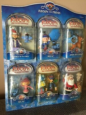 Memory Lane Actions Figures Rudolph- Santa Claus-Tall Elf-With Store Display!