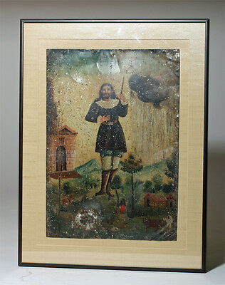 ARTEMIS GALLERY Antique Mexican Retablo - Saint Isidore