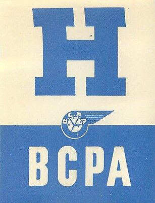 """Australia Bcpa British Commonwealth Pacific Airlines Vintage """"h"""" Luggage Label"""