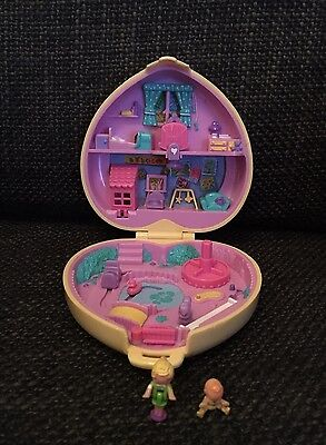 Vintage Polly Pocket 1994 Strollin Baby Babysitting, Compact & Original Figures
