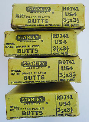 """4 Vintage Pair Stanley 3 1/2 """" Satin Brass Plated Door Hinges Butts RD741 /NOS"""
