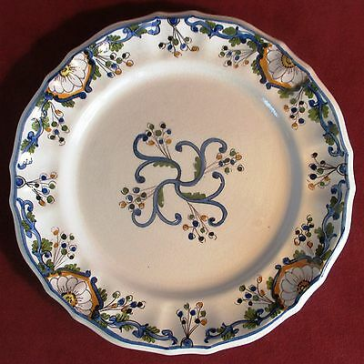 """Majolica Plate Floral Design 10"""" Colorful with Blue Border"""