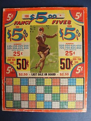 VINTAGE PUNCH BOARD GAME-5 cents FANCY FIVES unpunched 1000 punches + Pinup Girl