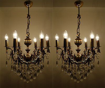 A Pair of Antique 6 Arms Brass & Crystals Chandeliers from 1950's