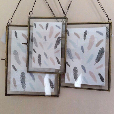 Hanging Brass Copper Picture Photo Frames Glass Shabby Chic Vintage 7 Sizes