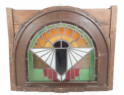 Unique Vintage Arched Stained Glass Window Panel (2828)NJ