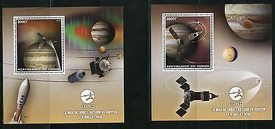 Congo 2016 Juno Jupiter Space Exploration  Set Of Two Souvenir Sheets  Mint Nh