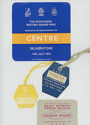 Silverstone Motor Racing Entry Tickets Passes 1950S /60S